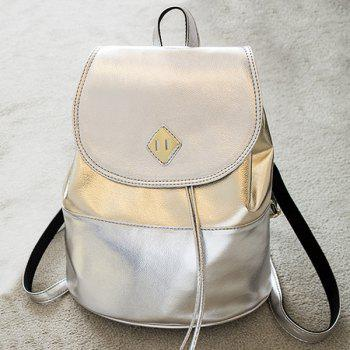 Faux Leather Contrasting Color Backpack With Handle - SILVER AND GOLDEN SILVER/GOLDEN