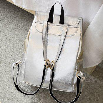 Faux Leather Contrasting Color Backpack With Handle -  SILVER/GOLDEN