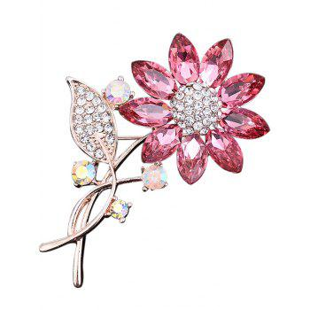 Faux Crystal Rhinestone Sunflower Leaf Brooch - PINK PINK