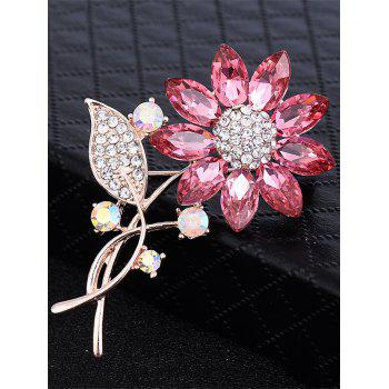 Faux Crystal Rhinestone Sunflower Leaf Brooch -  PINK