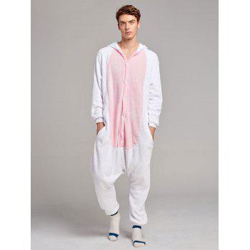 Fleece Unicorn Animal Family Onesie Pajamas - PINK DAD L