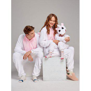 Fleece Unicorn Animal Family Onesie Pajamas - PINK MOM M