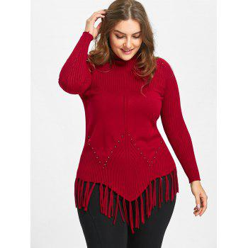 High Neck Fringed Ribbed Plus Size Sweater - RED 2XL