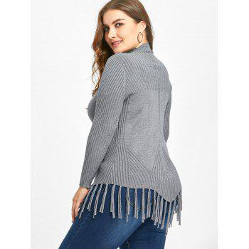 High Neck Fringed Ribbed Plus Size Sweater - GRAY GRAY