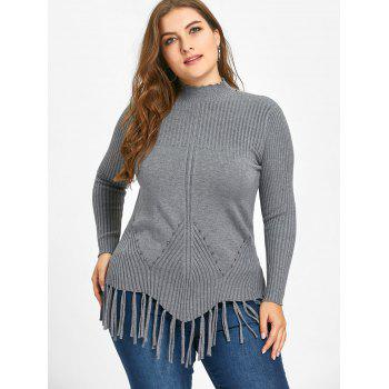 High Neck Fringed Ribbed Plus Size Sweater - GRAY 2XL