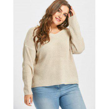 Cold Shoulder High Low Plus Size Sweater - APRICOT 3XL