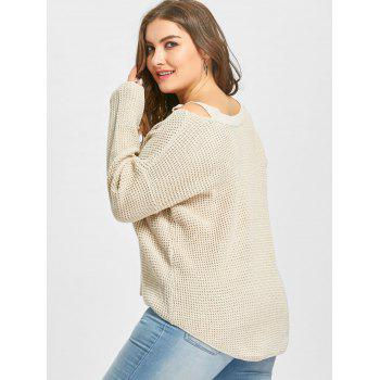 Cold Shoulder High Low Plus Size Sweater - APRICOT APRICOT