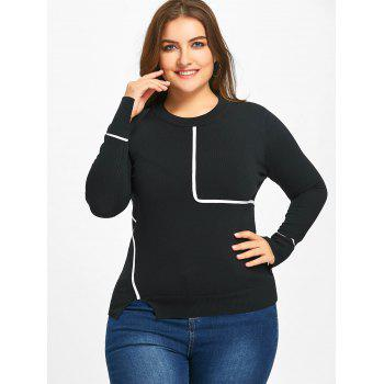 Plus Size Slit Striped Sweater - BLACK 5XL