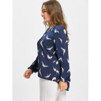 Crane Print High Low Plus Size Blouse - PURPLISH BLUE XL