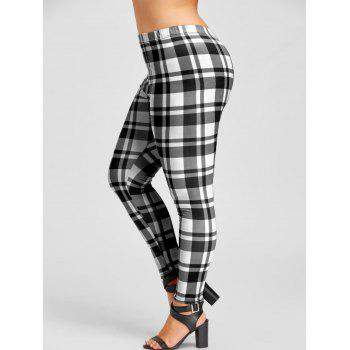 Plus Size Plaid Fitted Leggings - WHITE AND BLACK WHITE/BLACK