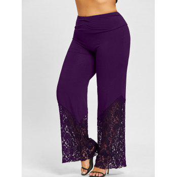Plus Size Lace Panel Palazzo Pants - CONCORD CONCORD