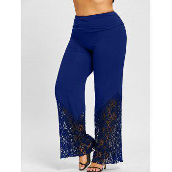 Plus Size Lace Panel Palazzo Pants - DEEP BLUE DEEP BLUE