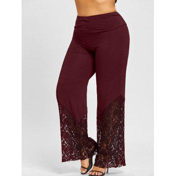 Plus Size Lace Panel Palazzo Pants - BORDEAUX BORDEAUX