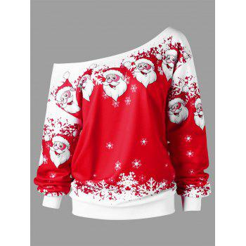 Plus Size Christmas Santa Claus Skew Collar Sweatshirt - RED WITH WHITE RED/WHITE