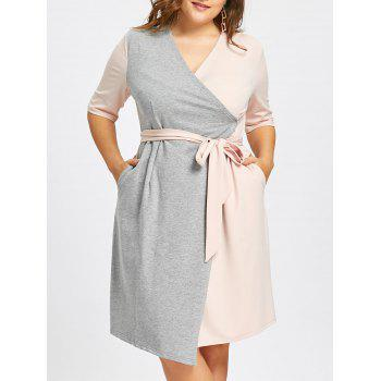 Self-tie Plus Size Two Tone Surplice Dress with Slit - PINK AND GREY PINK/GREY