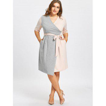 Self-tie Plus Size Two Tone Surplice Dress with Slit - PINK/GREY PINK/GREY