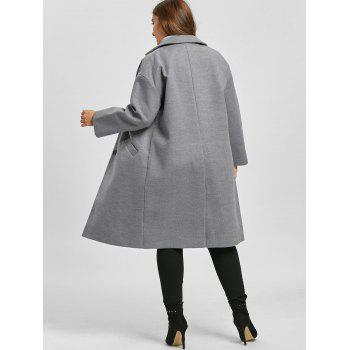 Plus Size Longline Button Up Coat - GRAY XL