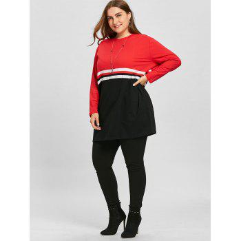 Double Striped Plus Size Color Block Sweatshirt - BLACK/RED BLACK/RED