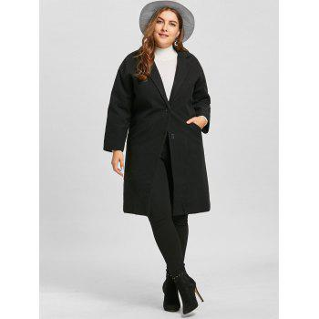 Plus Size Longline Button Up Coat - BLACK BLACK