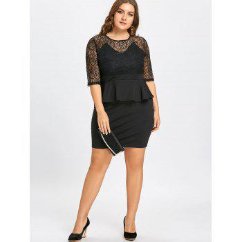 Plus Size Lace Insert Peplum Sheath Dress - BLACK BLACK