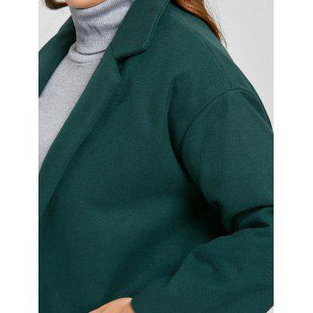 Plus Size Longline Button Up Coat - BLACKISH GREEN BLACKISH GREEN