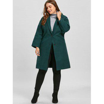 Plus Size Longline Button Up Coat - BLACKISH GREEN XL