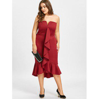 Plus Size Mermaid Ruffle Tube Dress - WINE RED 3XL