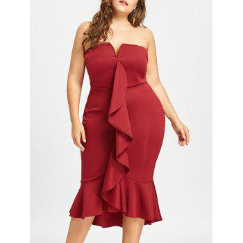 Plus Size Mermaid Ruffle Tube Dress - WINE RED WINE RED