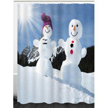 Sunshine Snowmen Couple Patterned Shower Curtain - BLUE / WHITE BLUE / WHITE