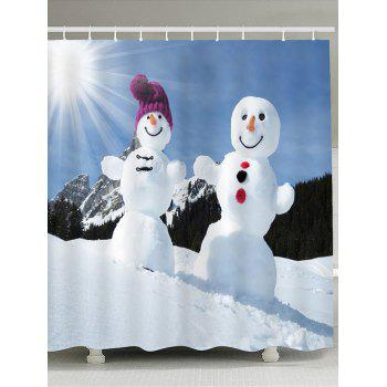 Sunshine Snowmen Couple Patterned Shower Curtain - BLUE + WHITE BLUE / WHITE