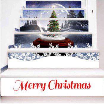 Crystal Ball with Christmas Tree Print Decorative Stair Stickers - COLORMIX 100*18CM*6PCS