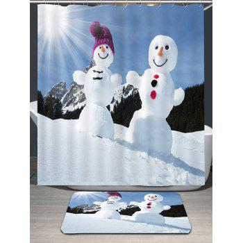Sunshine Snowmen Couple Patterned Shower Curtain - BLUE / WHITE W71 INCH * L79 INCH