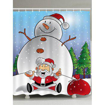 Snowman And Santa Claus Printed Shower Curtain - COLORFUL COLORFUL