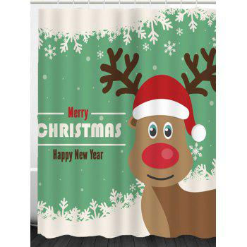Christmas Elk Snowflakes Pattern Shower Curtain - GREEN/WHITE GREEN/WHITE