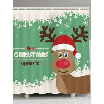 Christmas Elk Snowflakes Pattern Shower Curtain - GREEN AND WHITE GREEN/WHITE
