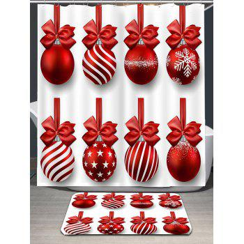 Christmas Hanging Balls Print Shower Curtain - RED/WHITE W71 INCH * L71 INCH