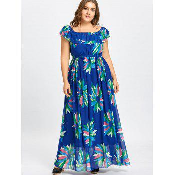 Flounce Plus Size Maxi Chiffon Floral Dress - BLUE 5XL