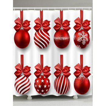 Christmas Hanging Balls Print Shower Curtain - RED AND WHITE RED/WHITE