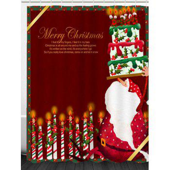 Santa Claus Cake And Candles Printed Shower Curtain - DEEP RED DEEP RED