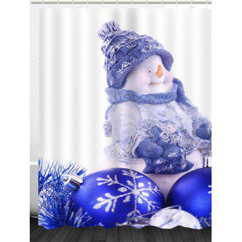 Christmas Snowman Balls Print Waterproof Shower Curtain - BLUE W71 INCH * L79 INCH