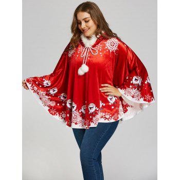 Santa Claus Printed Plus Size Velvet Cape Coat
