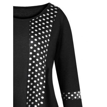 Plus Size Asymmetrical Polka Dot Tunic T-shirt - BLACK XL