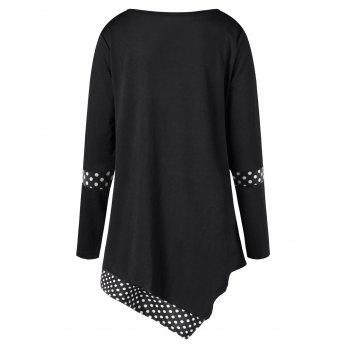 Plus Size Asymmetrical Polka Dot Tunic T-shirt - BLACK 3XL