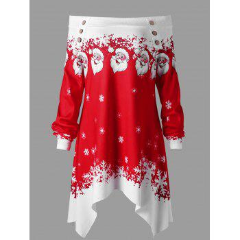 Christmas Plus Size Convertible Collar Tunic Top - RED WITH WHITE RED/WHITE