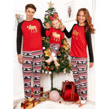 ELK Matching Family Christmas Pajama - RED MOM S