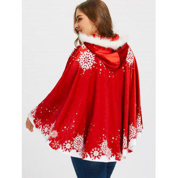 Christmas Snowflake Printed Plus Size Velvet Cape Coat - RED RED