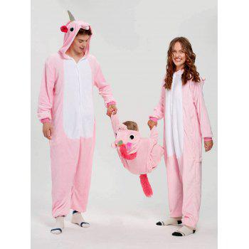 Cute Unicorn Matching Family Christmas Onesie Pajamas - PINK DAD L