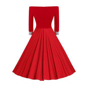 Fit and Flare Off The Shoulder Dress - RED M