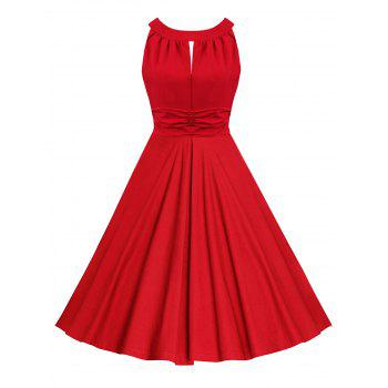 Sleeveless Ruched Keyhole Vintage Dress - RED RED