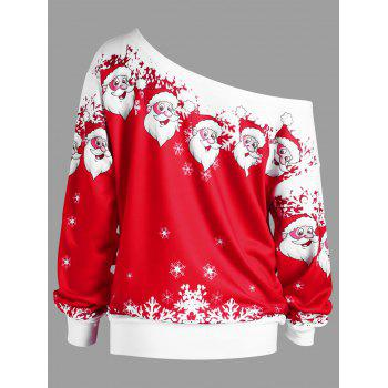 Plus Size Christmas Santa Claus Skew Collar Sweatshirt - RED/WHITE 3XL
